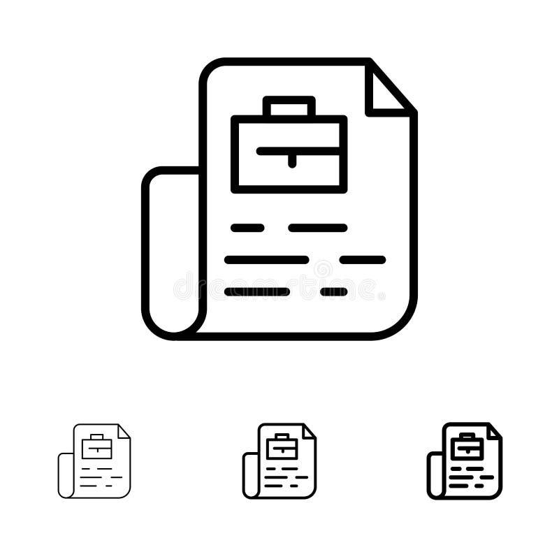 Ligne noire audacieuse et mince ensemble de document, de travail, de dossier, de sac d'icône illustration de vecteur