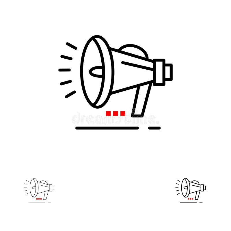 Ligne noire audacieuse et mince ensemble de haut-parleur, de haut-parleur, de voix, d'annonce d'icône illustration libre de droits