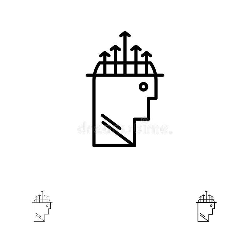 Ligne noire audacieuse et mince ensemble de main, d'hypnose, de données, de psychologie d'icône illustration de vecteur