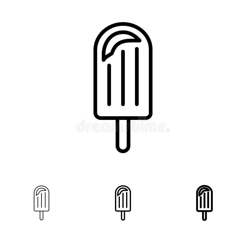 Ligne noire audacieuse et mince ensemble de plage, de crème, de dessert, de glace d'icône illustration de vecteur