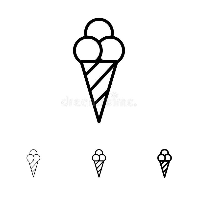Ligne noire audacieuse et mince ensemble de plage, de crème glacée, de cône d'icône illustration de vecteur