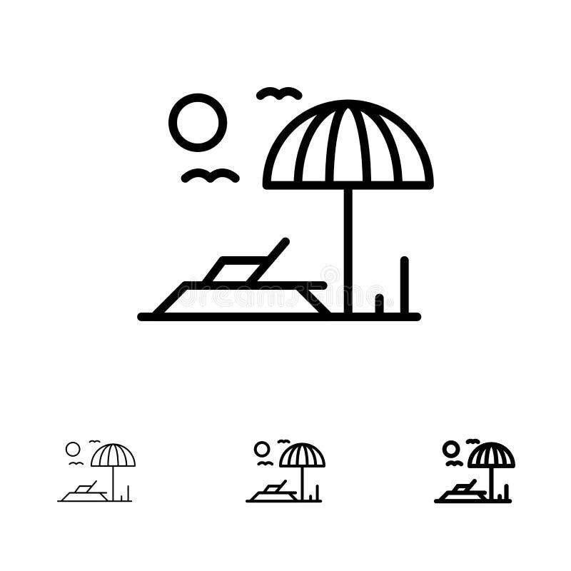 Ligne noire audacieuse et mince ensemble de plage, de lit pliant, de vacances d'icône illustration libre de droits