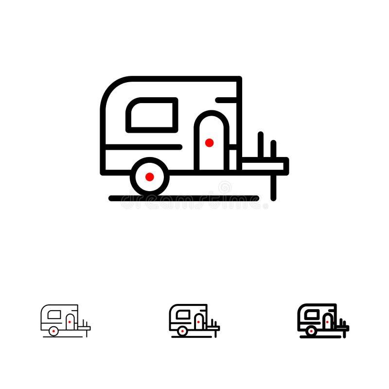 Ligne noire audacieuse et mince ensemble de voiture, de camp, de ressort d'icône illustration stock