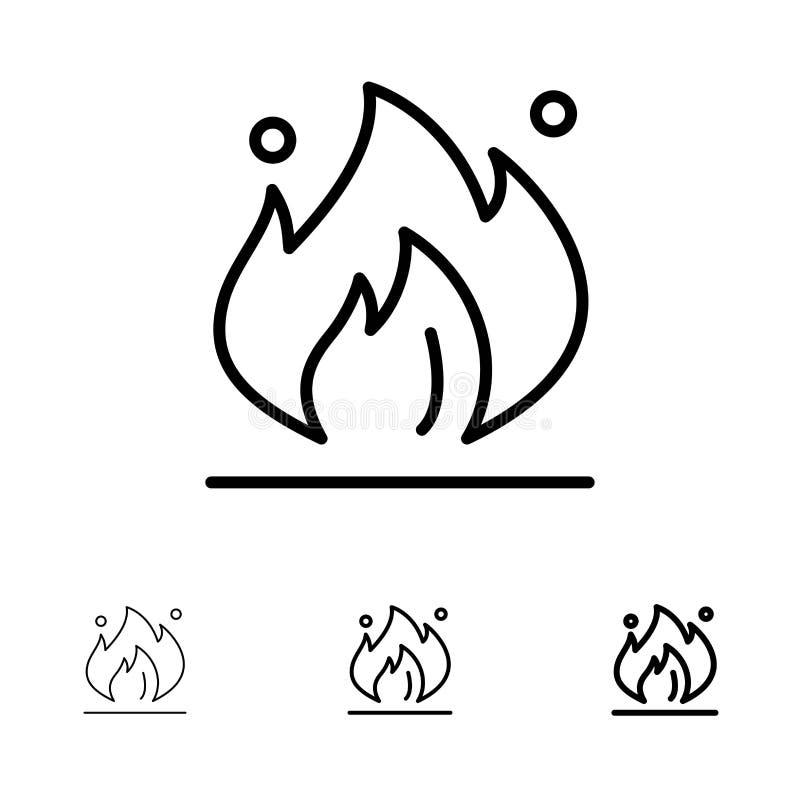 Ligne noire audacieuse et mince ensemble du feu, d'industrie, d'huile, de construction d'icône illustration libre de droits