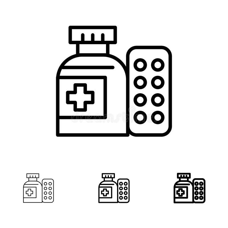 Ligne noire audacieuse et mince ensemble médicale, de médecine, de pilules, d'hôpital d'icône illustration de vecteur