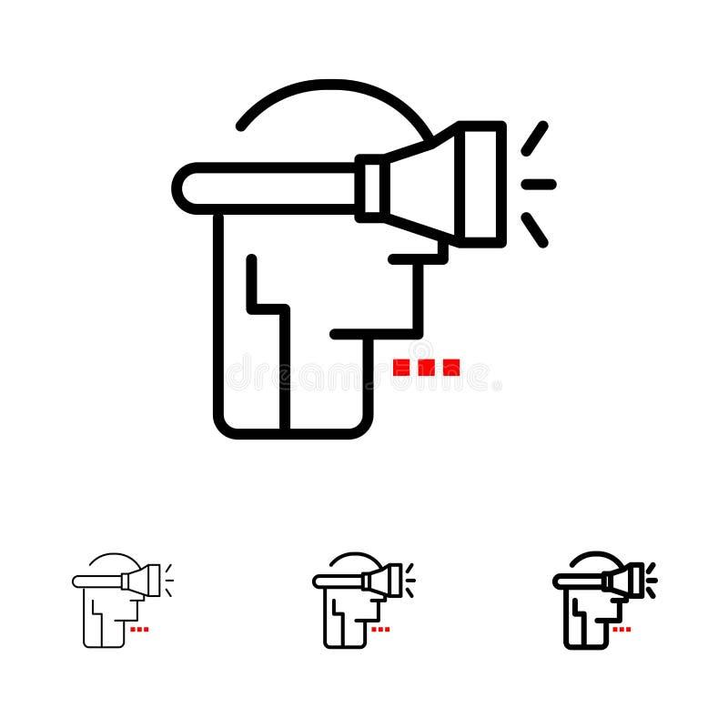 Ligne noire audacieuse et mince ensemble principale, humaine, de technologie, de réalité virtuelle d'icône illustration libre de droits