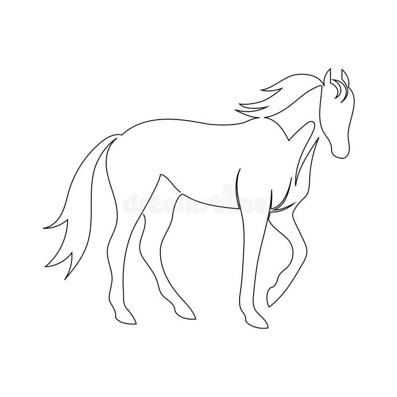 Ligne noire cheval sur le fond blanc Icône de vecteur dessinée par un C illustration de vecteur
