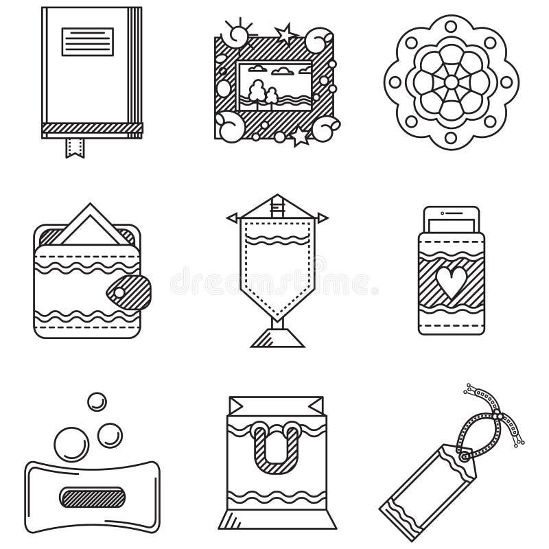 Ligne noire collection d'icônes pour les articles faits main illustration stock