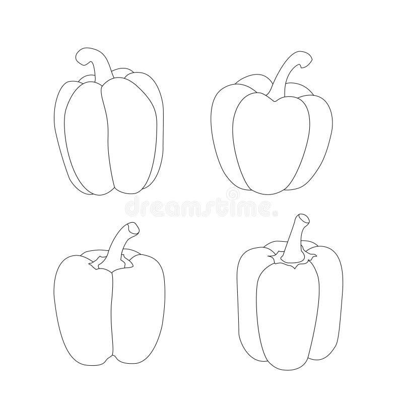 Ligne ligne noire d'isolement de paprika sur le vecteur blanc d'illustration de fond illustration de vecteur