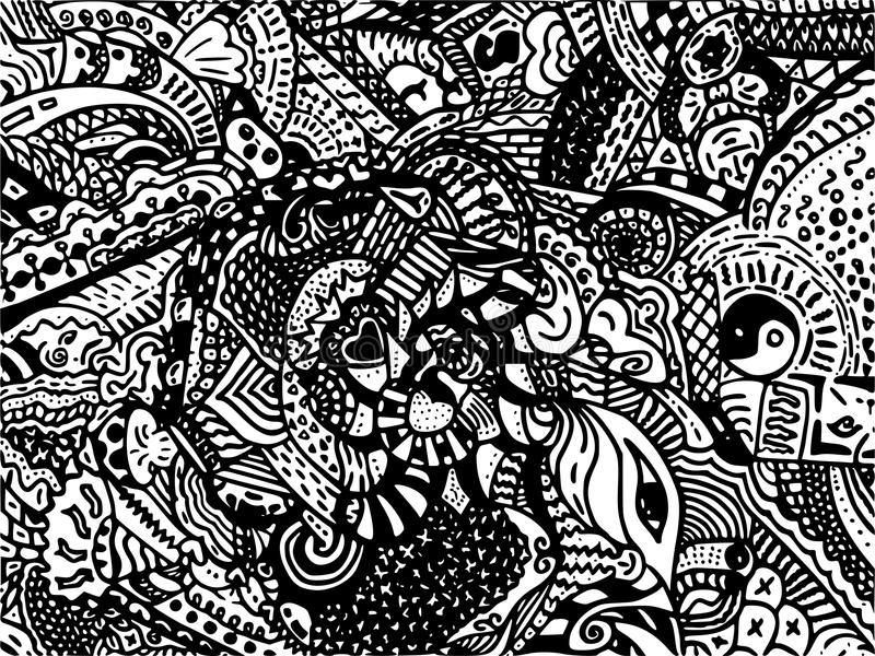 Ligne noire de dessin sur le fond blanc pour le fond abstrait photo libre de droits