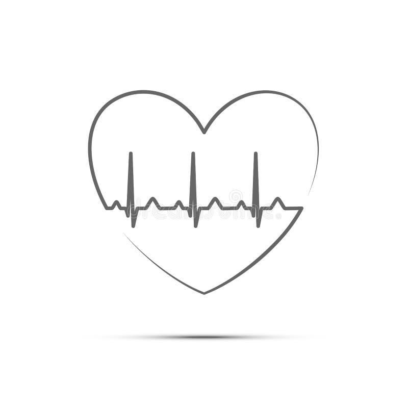 Ligne noire fréquence cardiaque dans la forme de coeur Icône de coeur d'isolement par vecteur illustration libre de droits