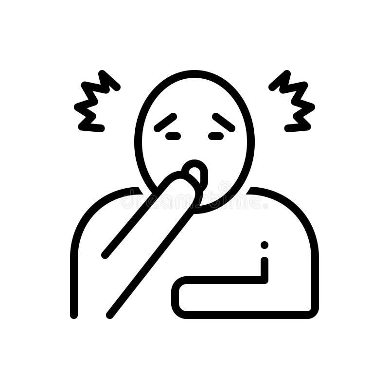 Ligne noire icône pour Astonish, étonnée et choquée illustration de vecteur