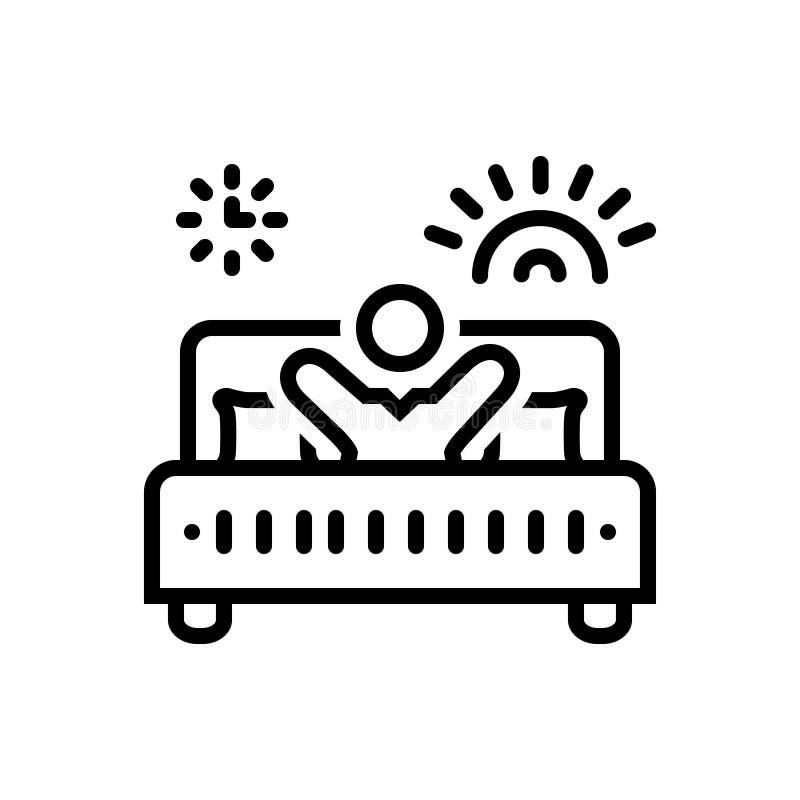 Ligne noire icône pour Avicii, éveillé et lit illustration libre de droits