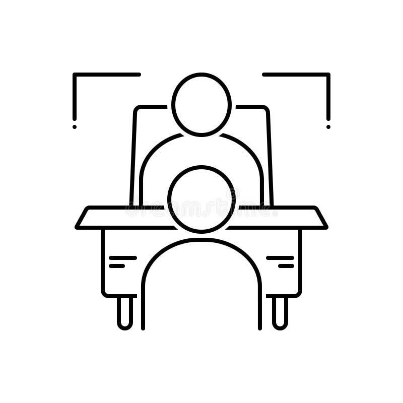 Ligne noire icône pour contextuel, l'entrevue et l'essai illustration de vecteur