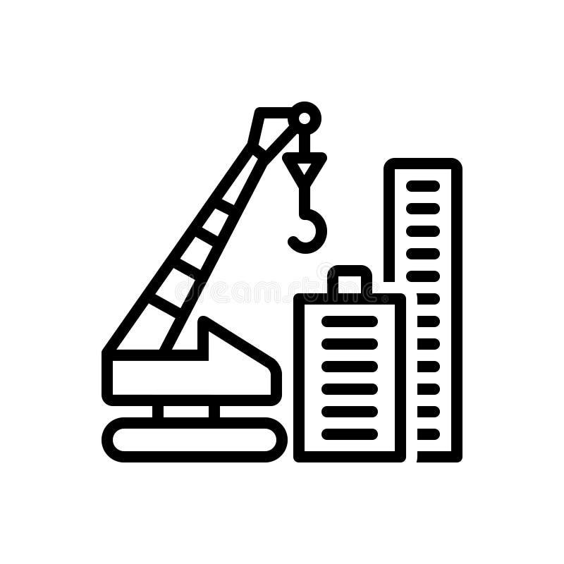 Ligne noire icône pour Crane Building, la construction et la tour illustration stock