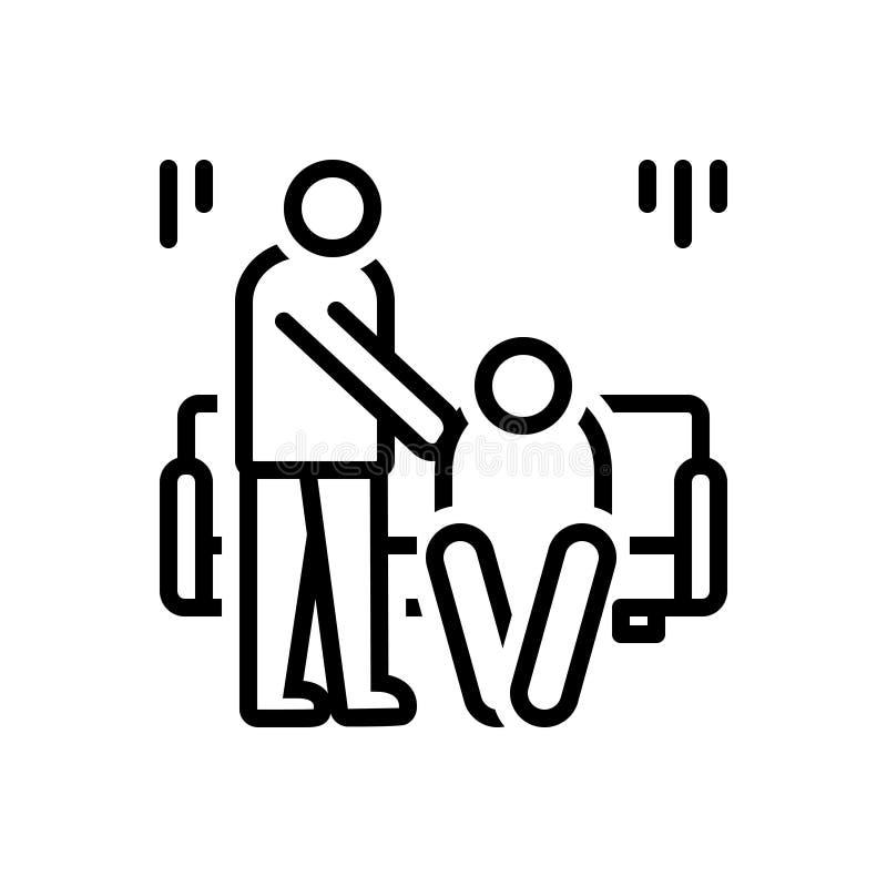 Ligne noire icône pour des condoléances, la sympathie et la compassion illustration stock