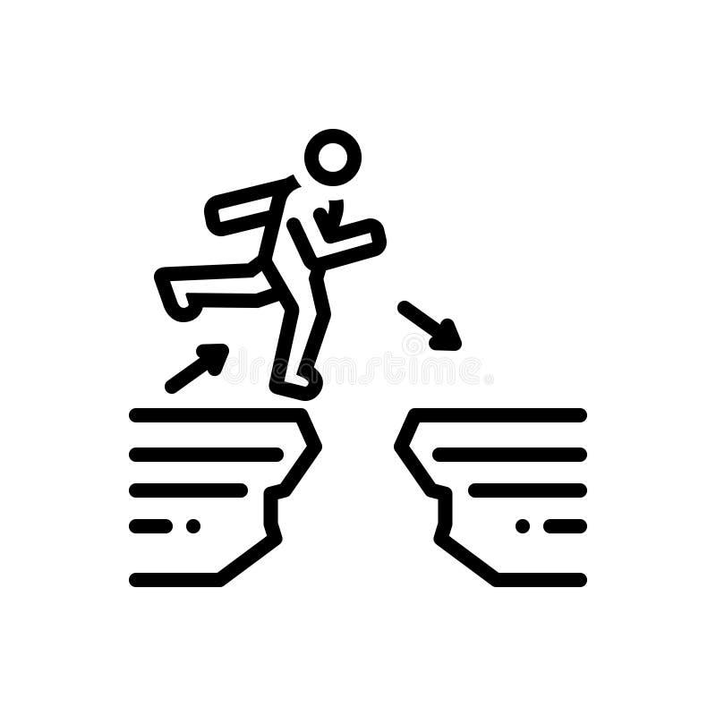 Ligne noire icône pour des difficultés, la différence et la disjonction illustration libre de droits