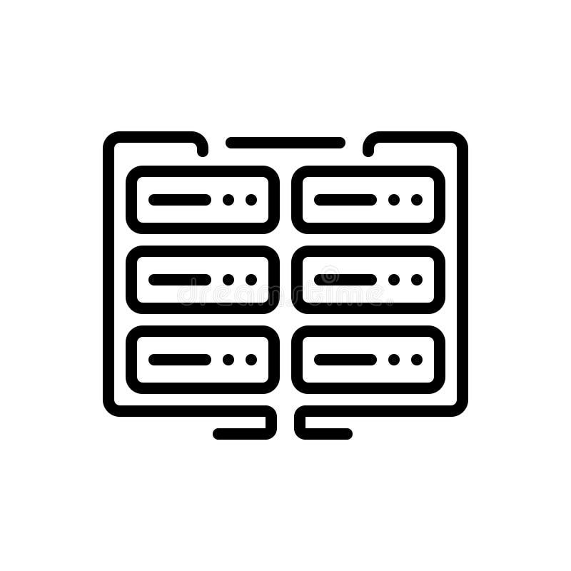 Ligne noire icône pour des données, le cryptage des données et l'instrument illustration de vecteur