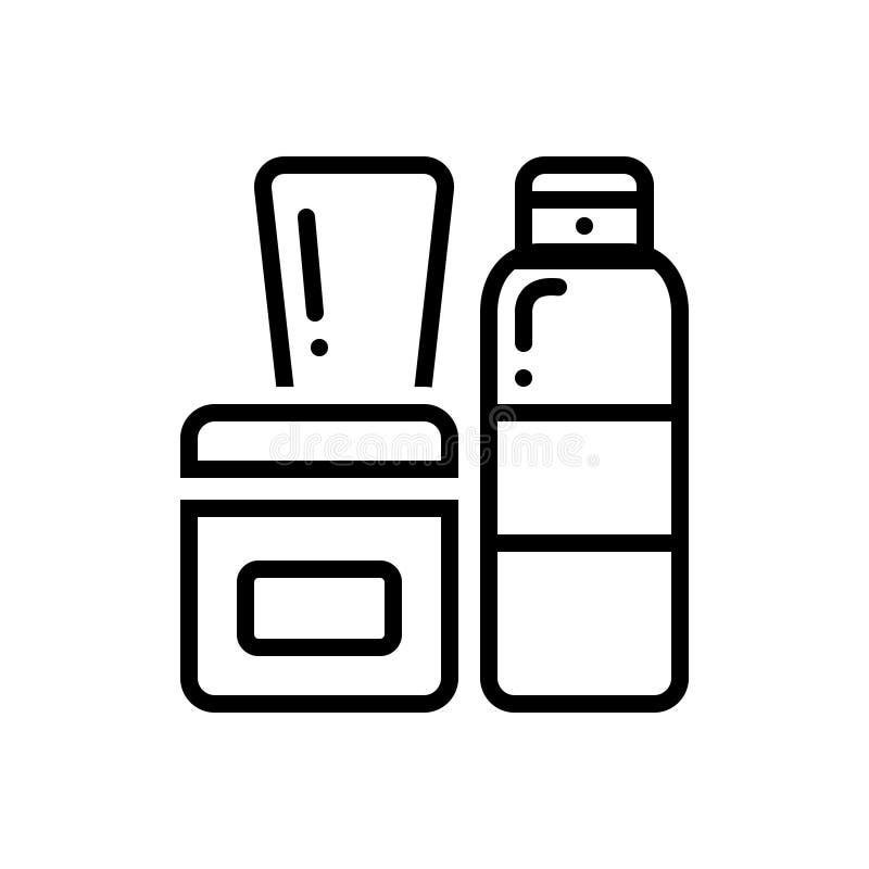 Ligne noire icône pour des produits, le soin et le corps illustration stock