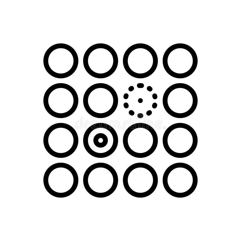 Ligne noire icône pour différencié, difficultés et différence illustration de vecteur