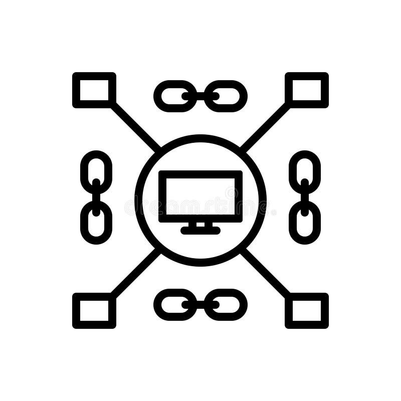 Ligne noire icône pour enchaîné, classifié et groupé illustration stock