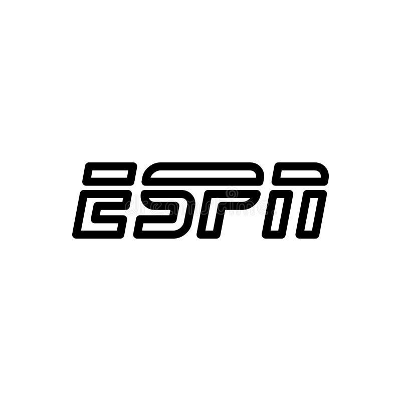 Ligne noire icône pour Espn, microphone et presse illustration de vecteur