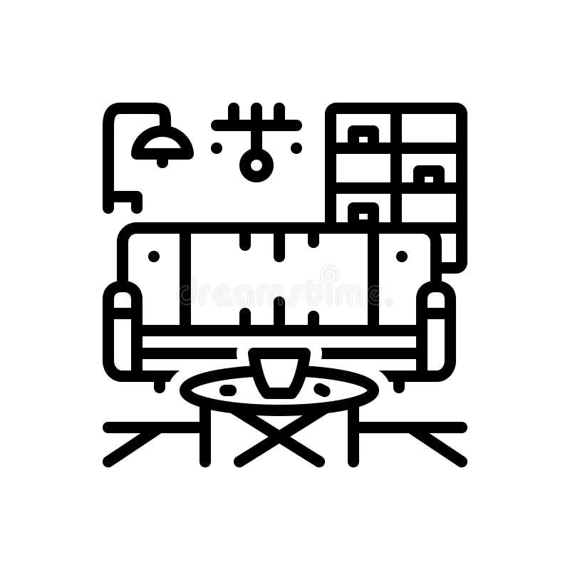 Ligne noire icône pour Furnished, équipée et adaptée illustration de vecteur