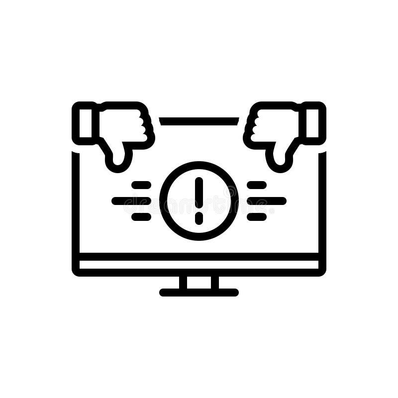 Ligne noire icône pour incommode, inconfortable et maladroit illustration de vecteur