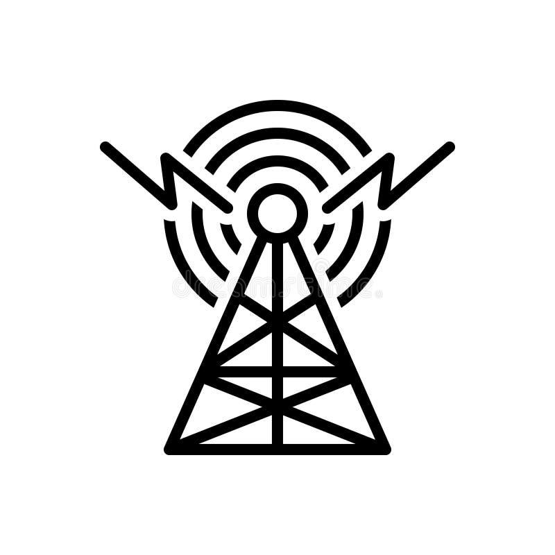 Ligne noire icône pour l'émission, le radar et l'antenne illustration libre de droits