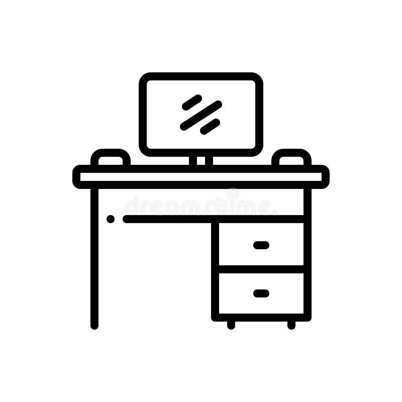 Ligne noire icône pour l'établi, le moniteur et le banc illustration libre de droits