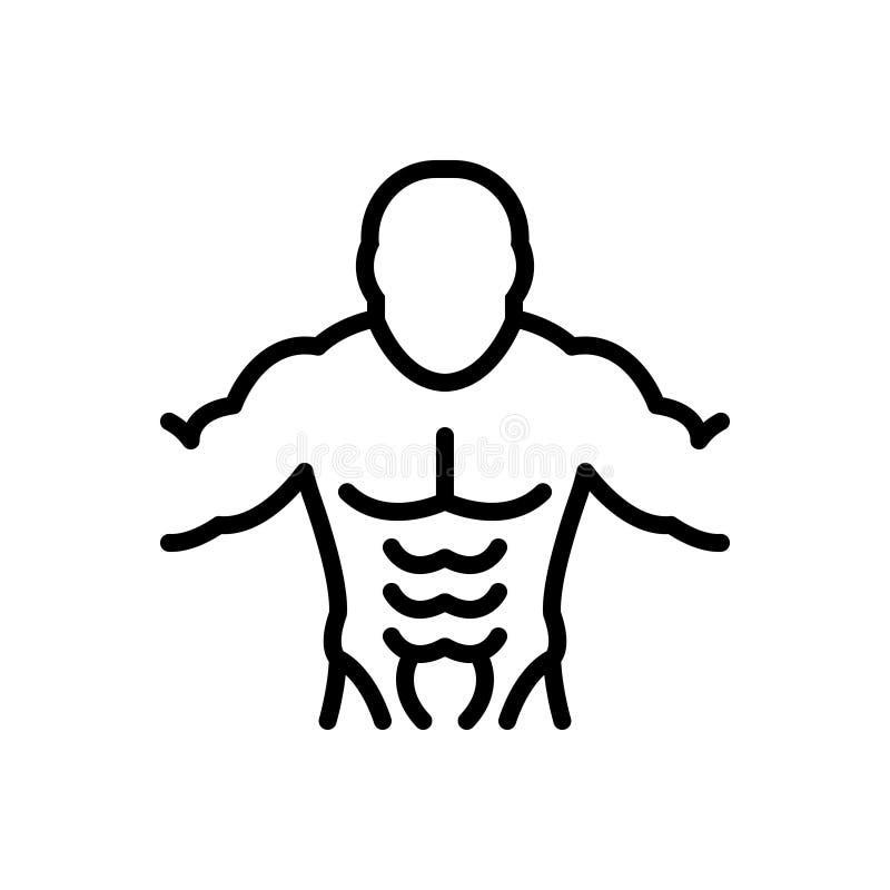 Ligne noire icône pour l'ABS, les muscles et l'abdomen illustration libre de droits