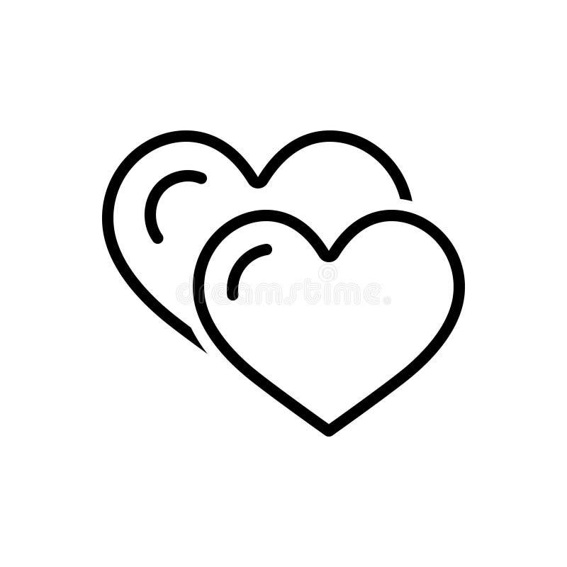 Ligne noire icône pour l'amour, l'amitié et amical illustration de vecteur