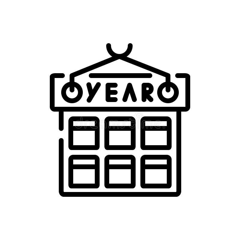 Ligne noire icône pour l'année, le mois et le calendrier illustration stock