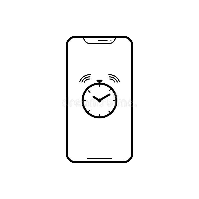 Ligne noire icône pour l'appli, la sonnerie et le rappel d'alarme illustration de vecteur