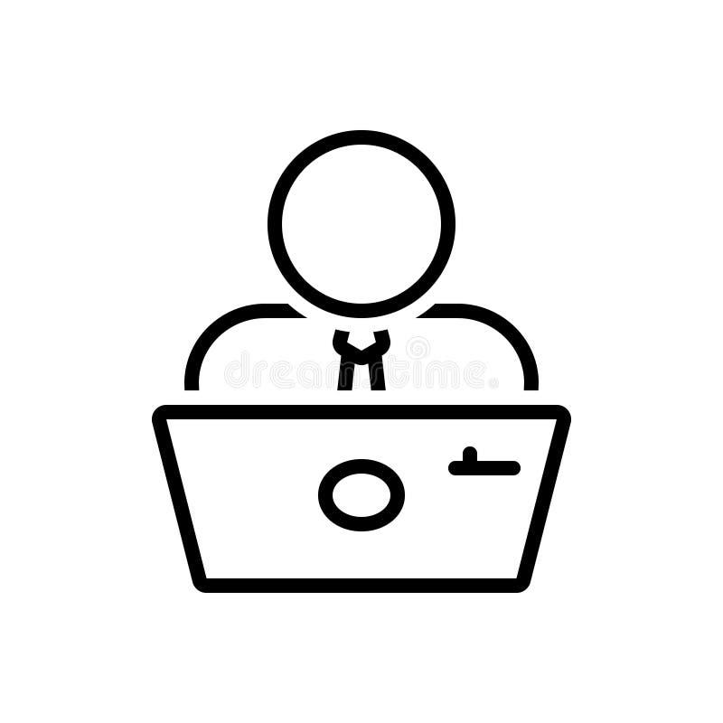 Ligne noire icône pour l'employé, le practician et l'homme à tout faire illustration libre de droits