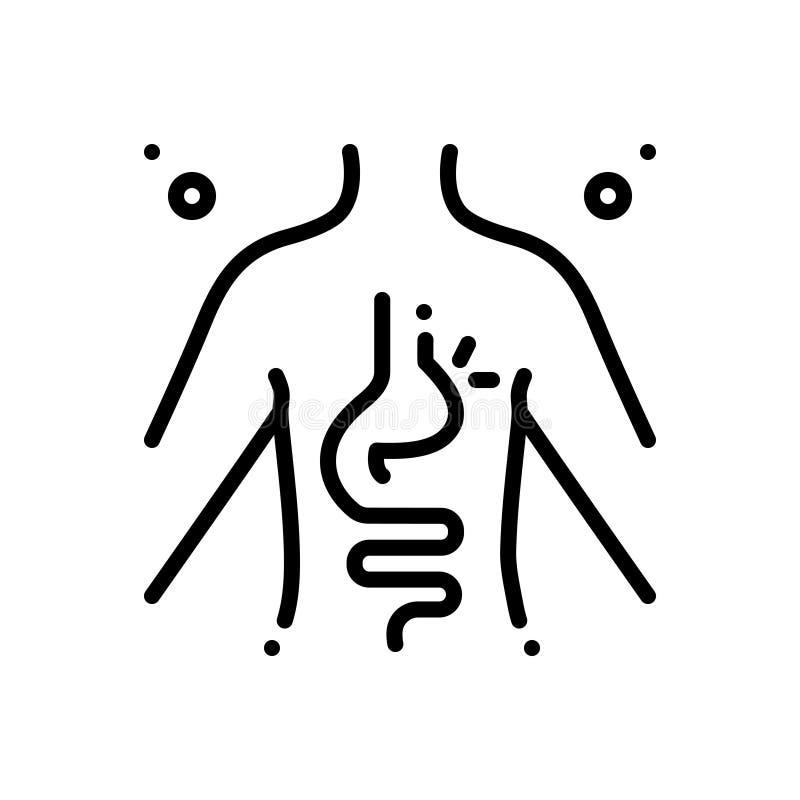 Ligne noire icône pour l'hernie, inguinal et l'estomac illustration stock