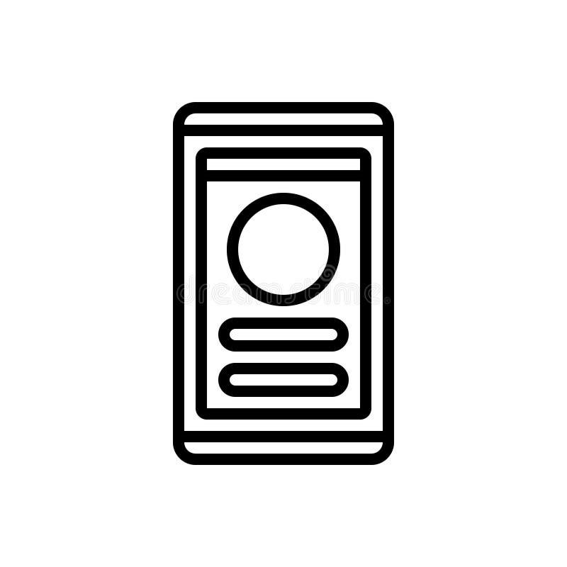Ligne noire icône pour l'interface utilisateurs, l'assemblage et l'attachement illustration de vecteur