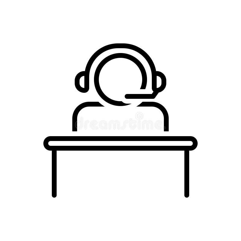 Ligne noire icône pour l'opérateur, l'appui et l'approbation de centre d'appels illustration stock