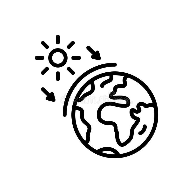 Ligne noire icône pour l'ozone, le monde et la terre illustration libre de droits