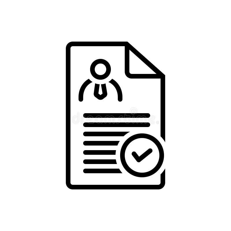 Ligne noire icône pour la détermination, le contrôle et le document illustration de vecteur