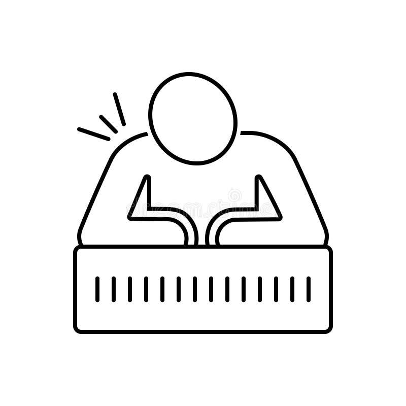 Ligne noire icône pour la douleur, la blessure et médical chroniques illustration libre de droits