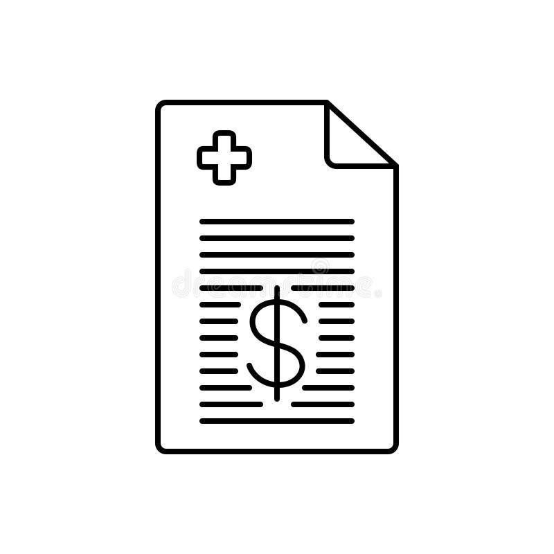 Ligne noire icône pour la facture médicale, les écritures et la facture illustration de vecteur