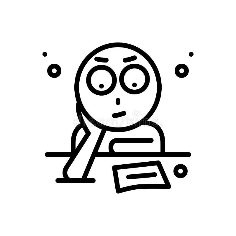 Ligne noire icône pour la fixation, détermination et penser illustration de vecteur