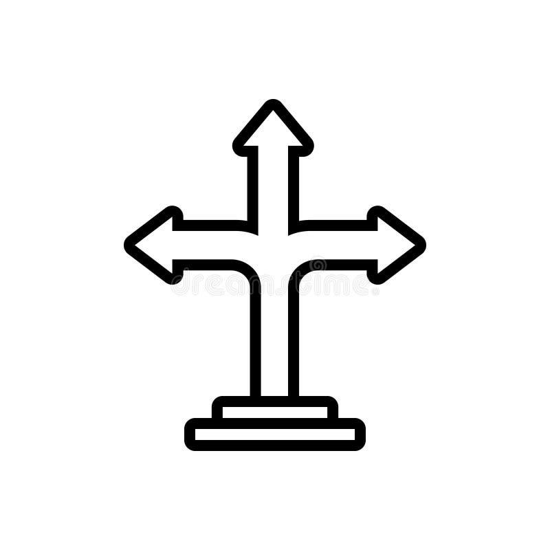 Ligne noire icône pour la flèche de direction, la direction et les conseils illustration stock