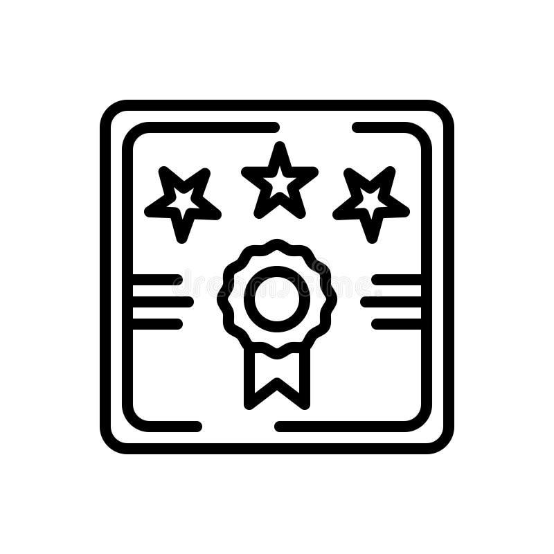 Ligne noire icône pour la garantie, la garantie et la qualité illustration de vecteur
