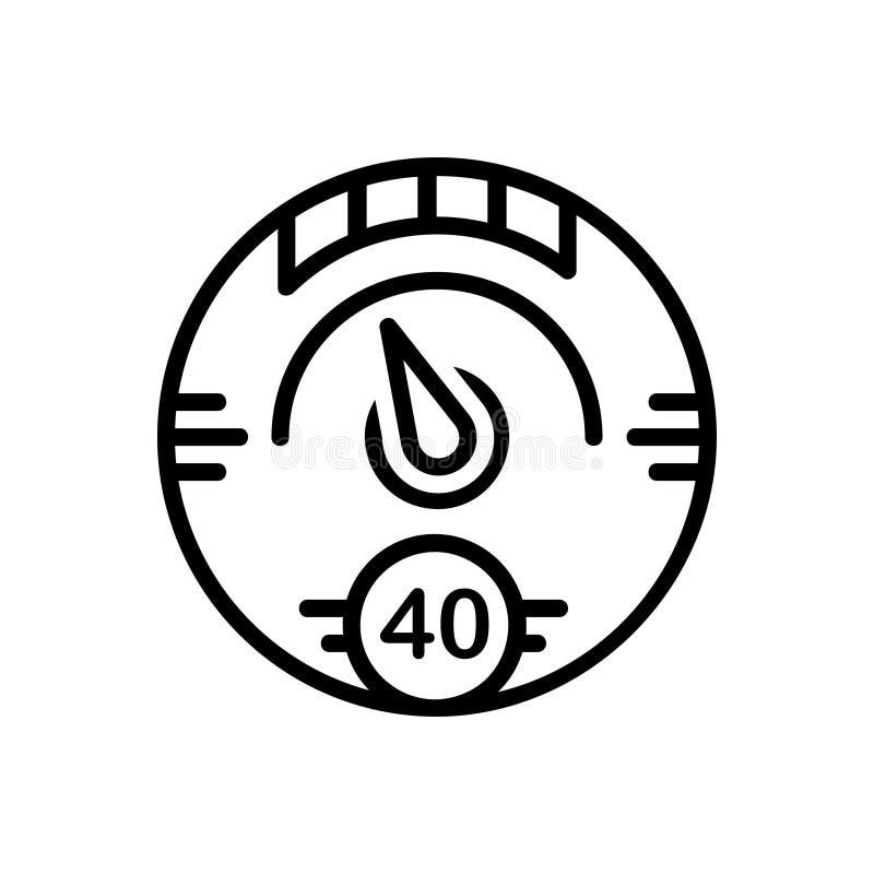 Ligne noire icône pour la mesure, le tachymètre et le mètre de Digital illustration de vecteur