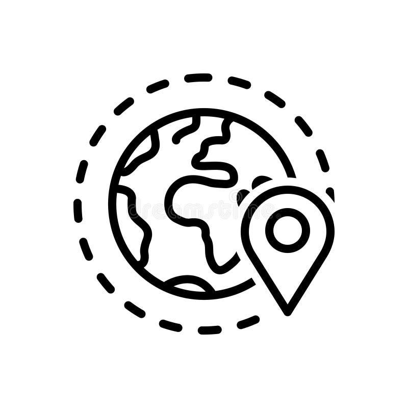 Ligne noire icône pour la périphérie, la zone de geo et l'emplacement illustration libre de droits