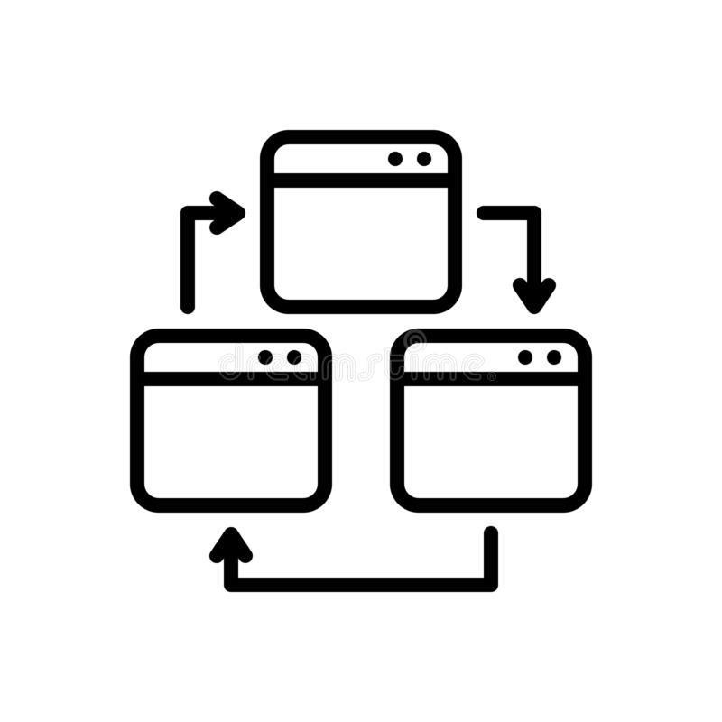 Ligne noire icône pour la page Web, la croix et l'essai illustration de vecteur