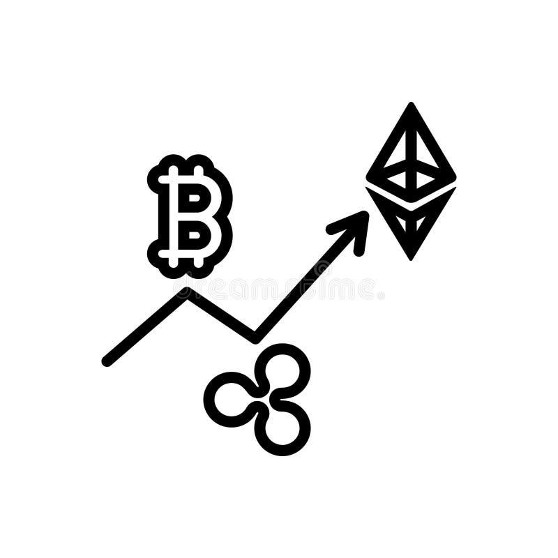 Ligne noire icône pour la pièce de monnaie de commerce, numérique et la devise illustration stock