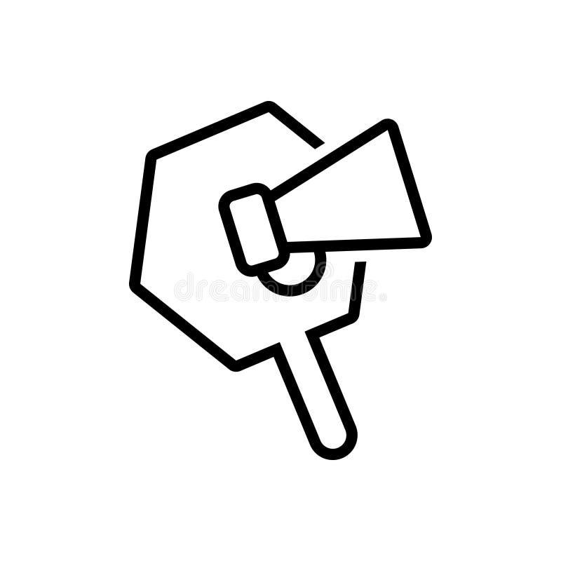 Ligne noire icône pour la promotion, le haut-parleur et le mégaphone illustration libre de droits